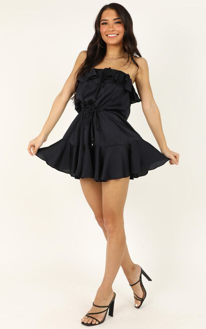 Cross Our Hearts Playsuit in navy satin - 16 (XXL), Navy, hi-res image number null