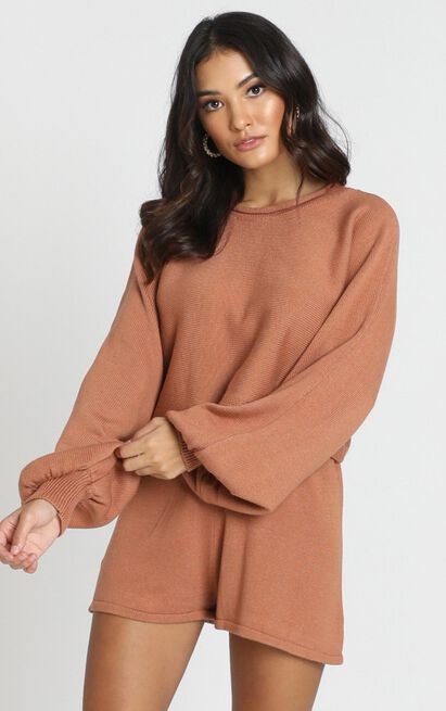 Hartley Knitted Jumper in tan - 8 (S), Tan, hi-res image number null