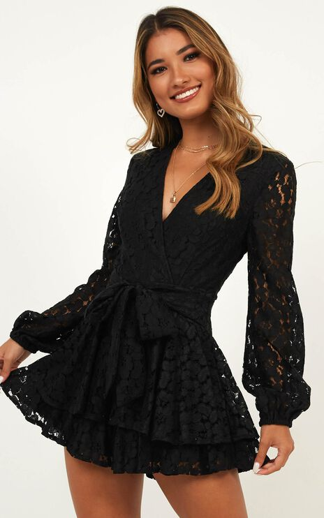 Communal Love Playsuit In Black Lace