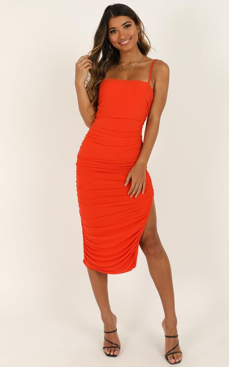 Drawing Near Dress In Tangerine