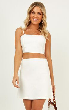 The Best Kind Two Piece Set In White Linen Look