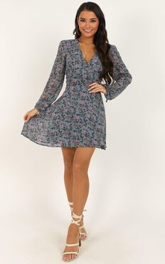 Glorious Day Dress In Blue Floral