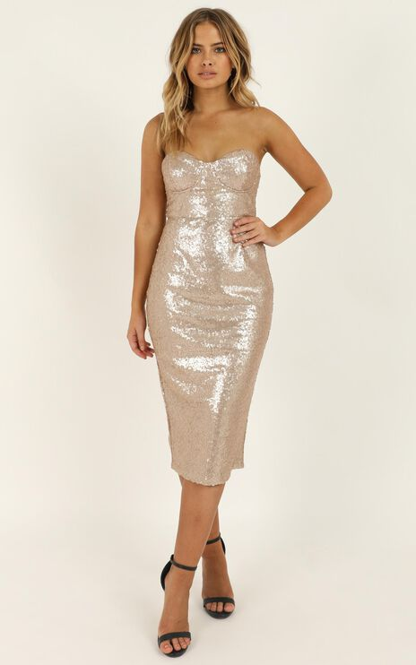 Shine Bright Like A Diamond Dress In Champagne Sequin