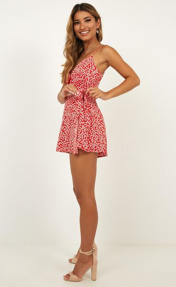 Call It Like It Is Playsuit In Red Floral