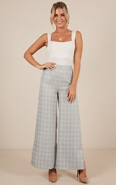 Just A Stranger Pants In Grey Check