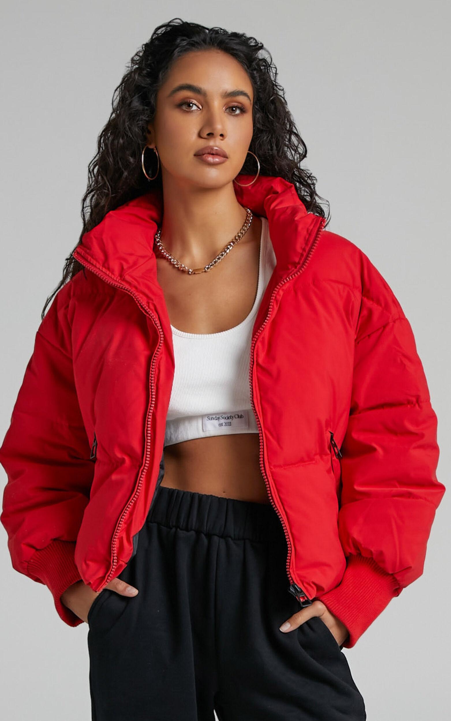 Windsor Puffer Jacket in Red - 06, RED6, super-hi-res image number null