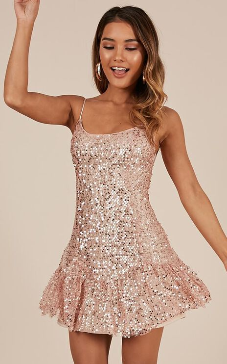 Like I Love You Dress In Rose Gold Sequin