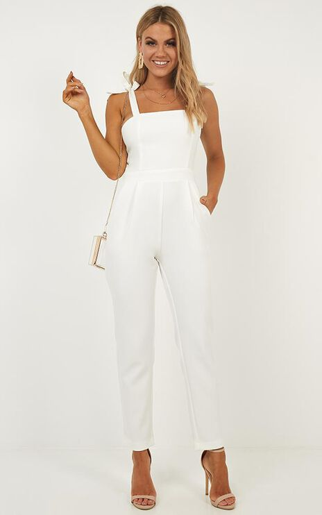 Caught Out Jumpsuit In White