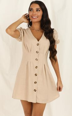 Need And More Dress In Beige Linen Look