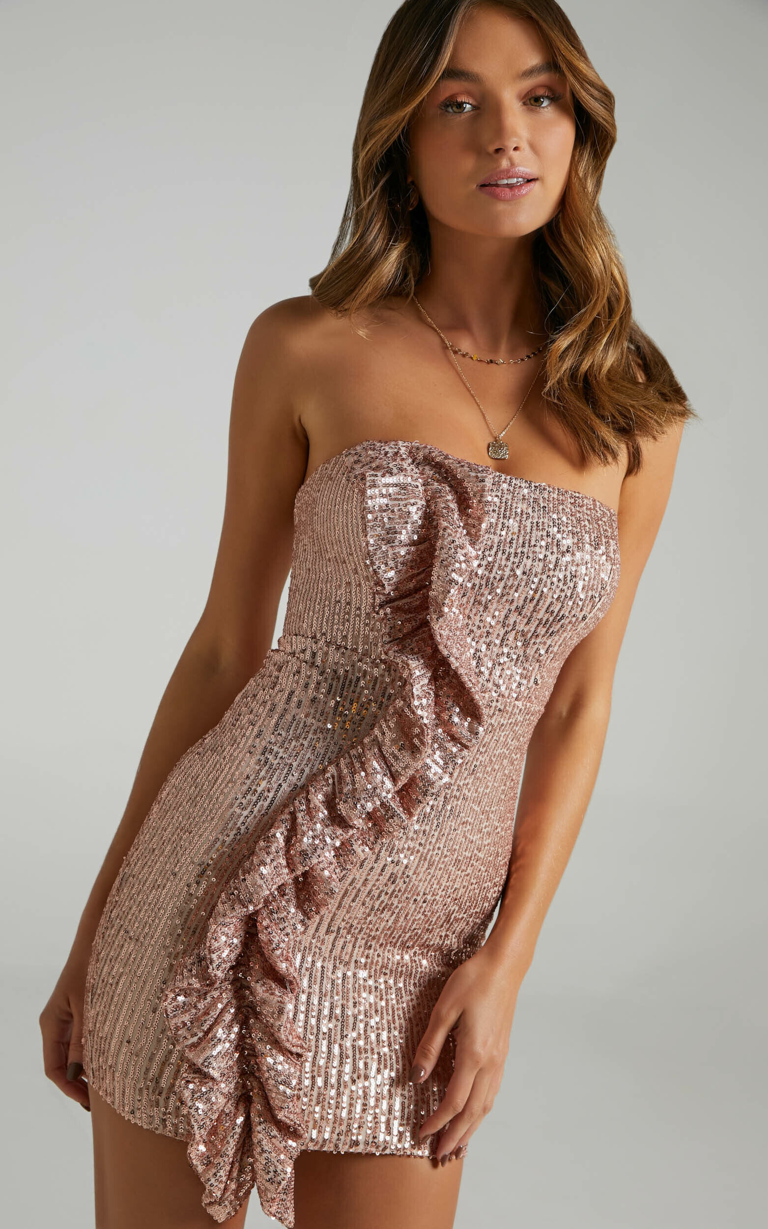Amile Strapless Ruffle Mini Dress in Bronze Sequin - 06, GLD1, super-hi-res image number null