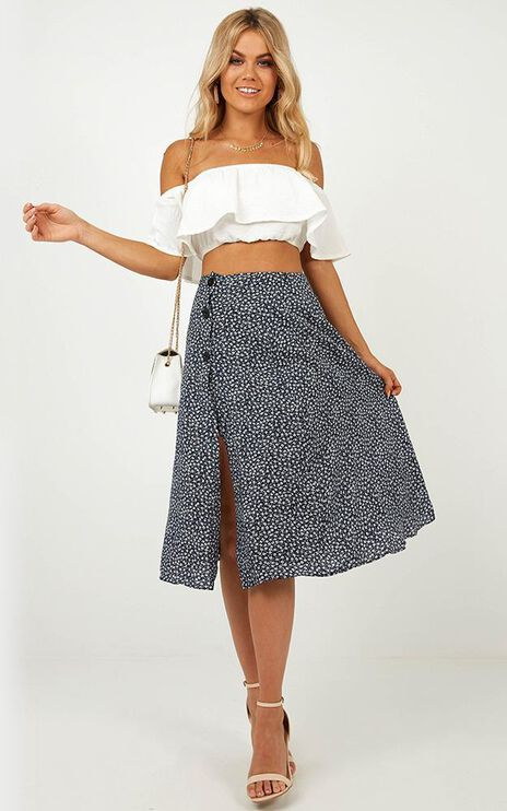 In The Fields Skirt In Navy Floral