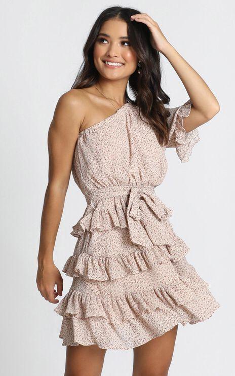 Gwyneth One Shoulder Mini Dress In Beige Print