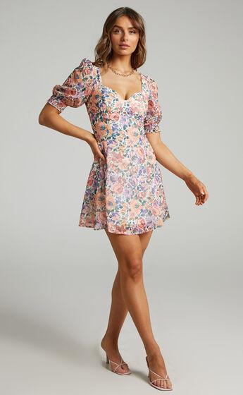 Brielle Tie Back Mini Dress in Secret Garden