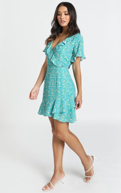Another Time Dress in green floral - 12 (L), Green, hi-res image number null