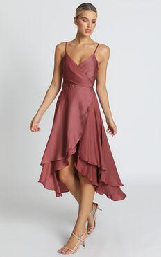 Between Fantasy Dress In Dusty Rose Satin