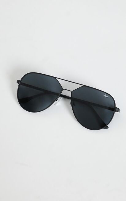 Quay X Lizzo - Hold Please Sunglasses in Black and Smoke Lens, , hi-res image number null