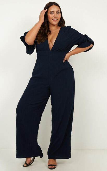 Lala Land Jumpsuit In navy linen look - 14 (XL), Navy, hi-res image number null