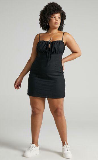 Break Free With Me Dress in Black Linen Look