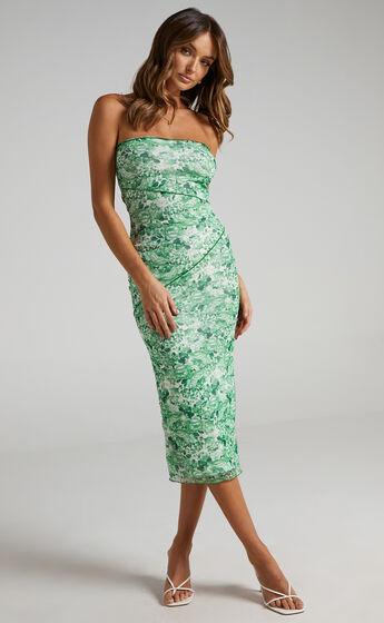 Brunetta Strapless Mesh Midi Dress in Green Furnishing Florals