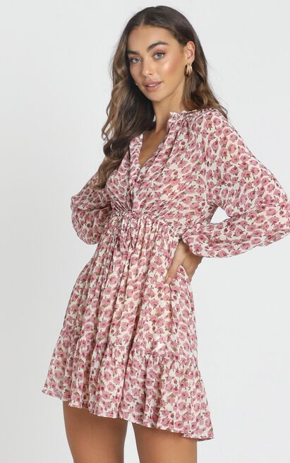 Petra Chiffon Smock Dress in white floral - 6 (XS), White, hi-res image number null