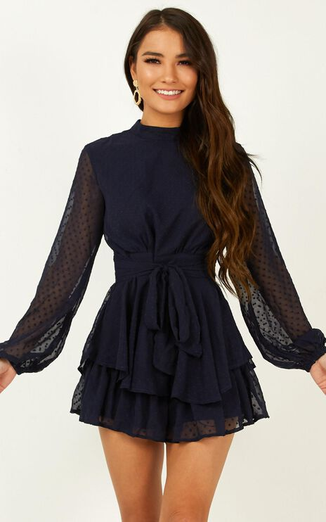 Bottom Of Your Heart Playsuit In Navy