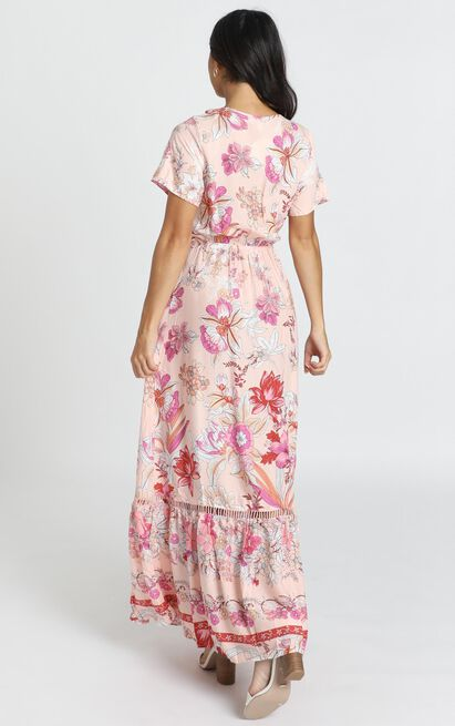 Rellie Tie-Front Maxi Dress in pink floral - 14 (XL), Pink, hi-res image number null