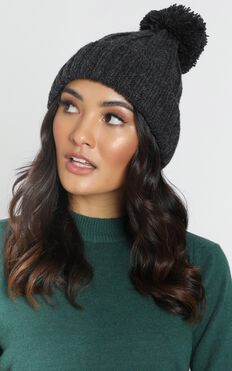 Winter Night Beanie In Charcoal