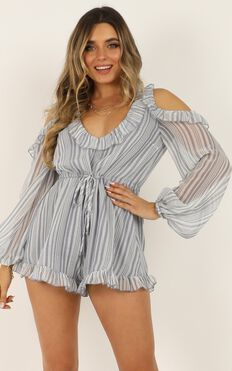 Rhythm And Love Playsuit in Blue Stripe