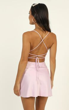 Before Your Time Dress In Lilac Satin