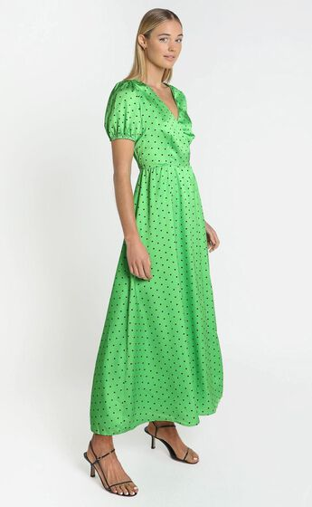 Kori Midi Dress in Green Polka