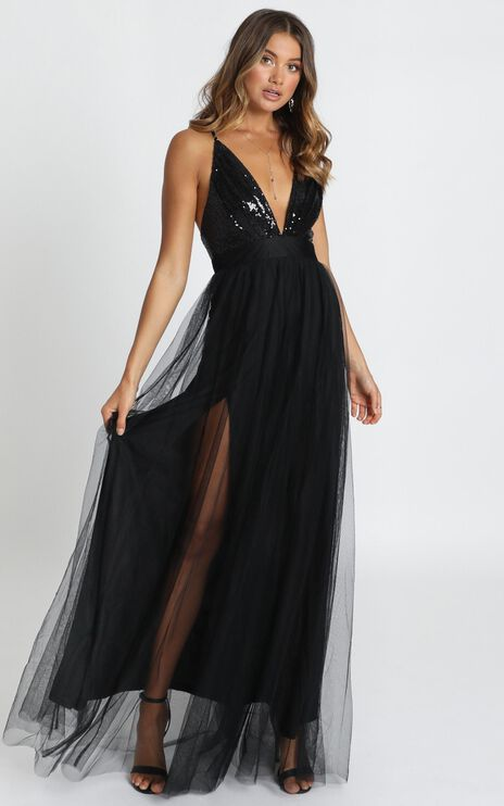 San Diego Maxi Dress In Black Sequin