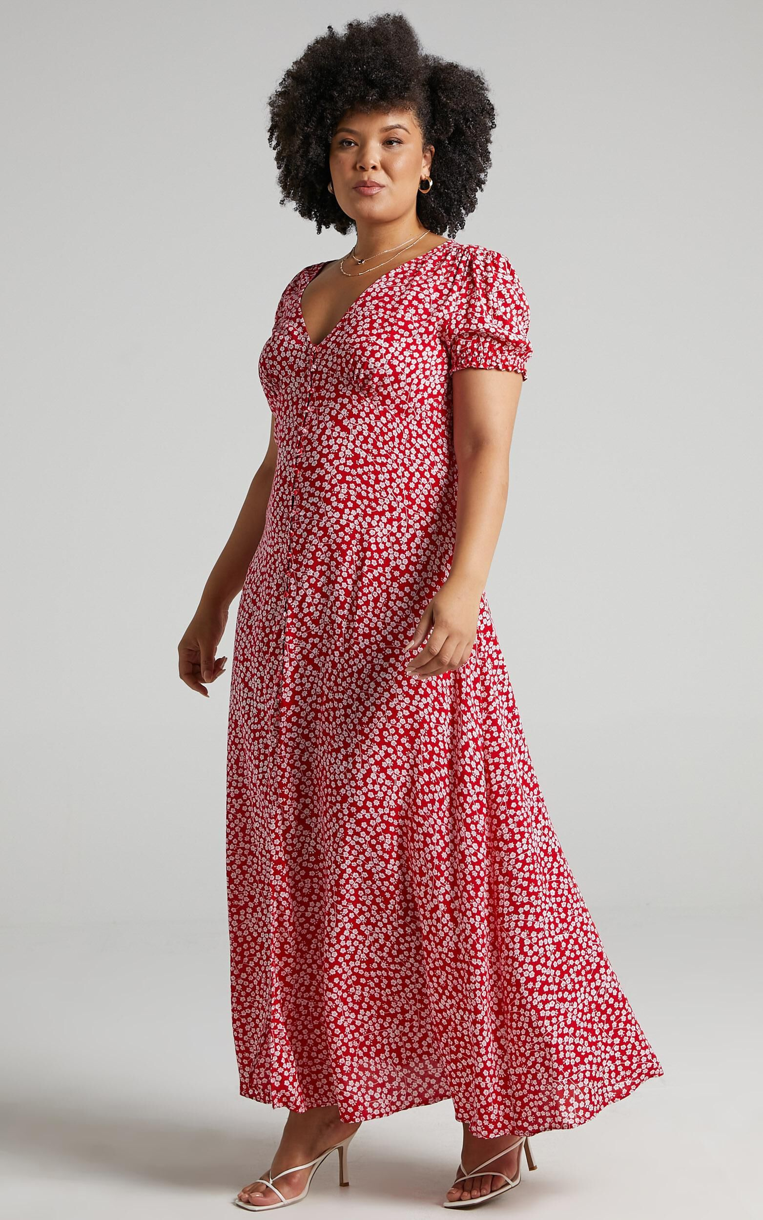 Flaming Hot Button Up V Neck Maxi Dress in Red Floral - 20, RED3, super-hi-res image number null