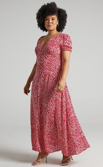 Flaming Hot Button Up V Neck Maxi Dress in Red Floral