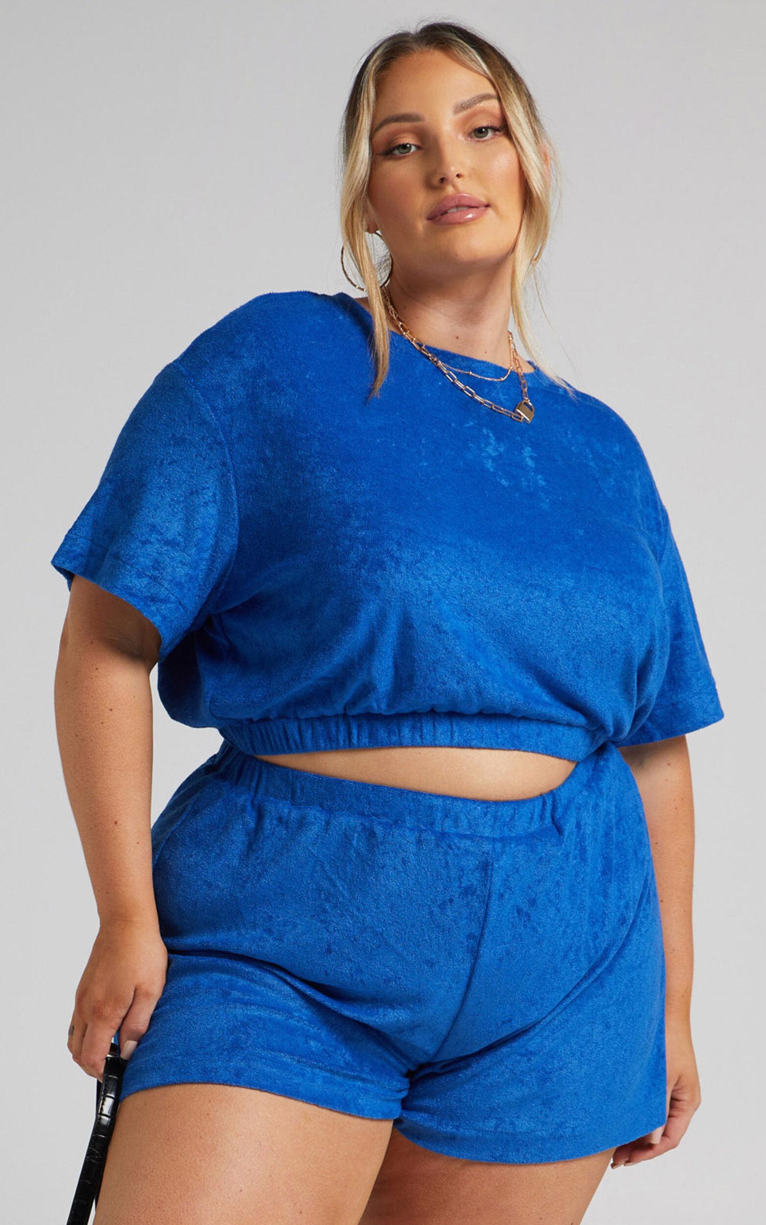 Giada Elasticated Shorts in Blue - 04, BLU1, super-hi-res image number null