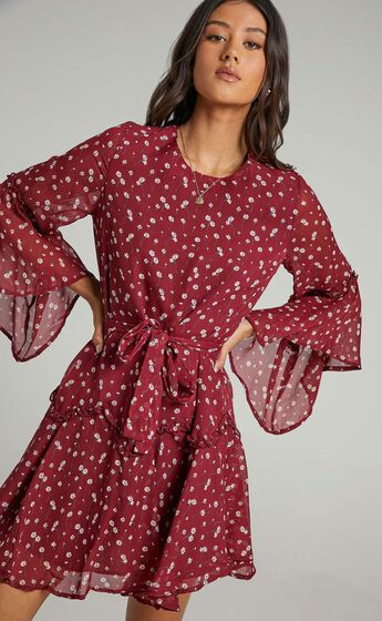 So Whats Next Dress in Wine Floral