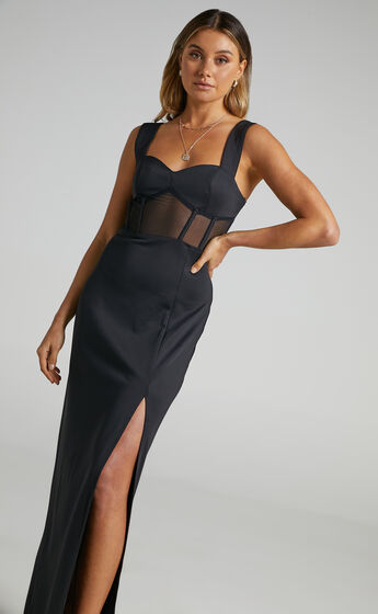 Perrie Mesh Corset Maxi Dress in Black