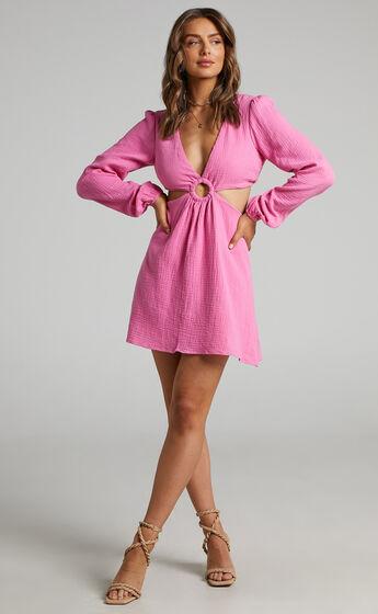 Queeny Side Cutouts Mini Dress in Bubblegum Pink