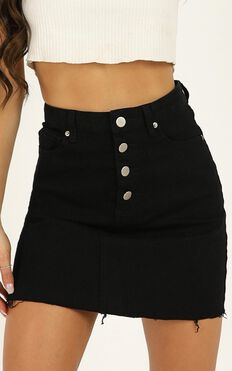 Oh My Gosh Skirt In Black Denim