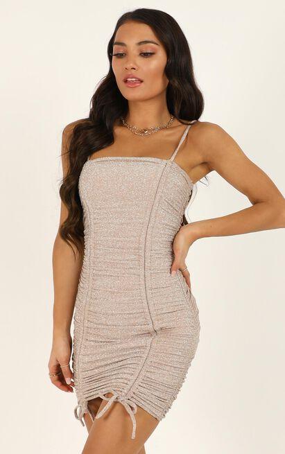 Let My Guard Down dress in blush lurex - 12 (L), Blush, hi-res image number null