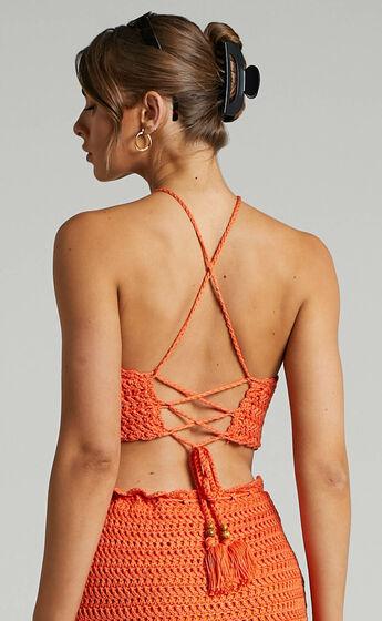 Cappadocia Crochet Halter Top in Orange