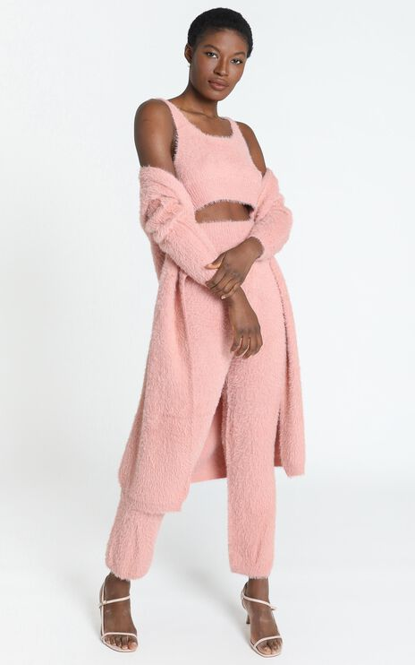 Athena Fluffy Knit Two Piece Set in Blush