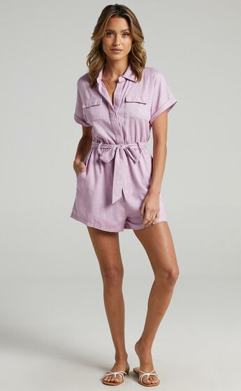 Zarina Belted Playsuit in Lilac