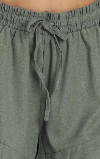 Beach Vibes Shorts In Khaki Linen Look - 4 (XXS), Khaki, hi-res image number null