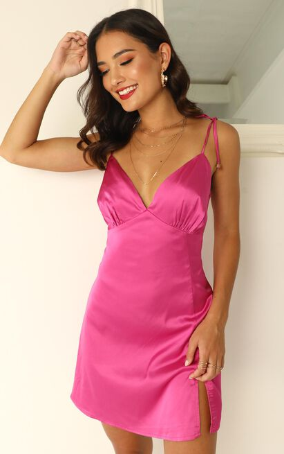 Sipping on Margaritas Mini Dress in hot pink satin - 14 (XL), Pink, hi-res image number null