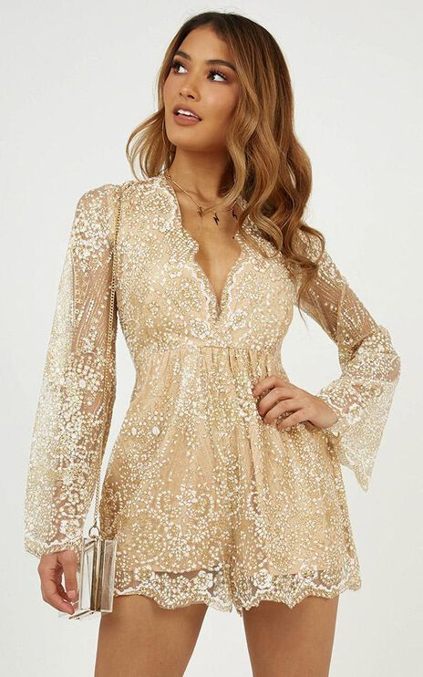 I Could Use A Love Song Playsuit In Rose Gold Glitter