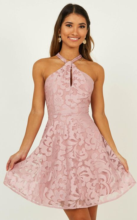 Two Worlds Apart Dress In Dusty Rose