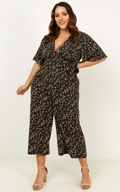 Cant Fight It Jumpsuit in forest green floral - 20 (XXXXL), Green, hi-res image number null