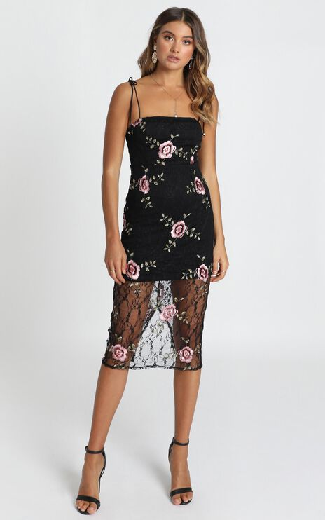 Can We just Talk Dress In Black Floral Lace