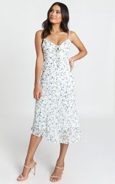 Toss the Dice Dress In White Ditsy Floral
