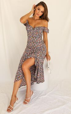 Follow Where You Go Dress In Navy Floral
